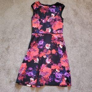 London Times Black & Purple Floral Dress